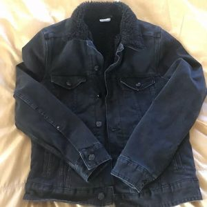 H&M Black Denim and Fur Jacker Sz 8